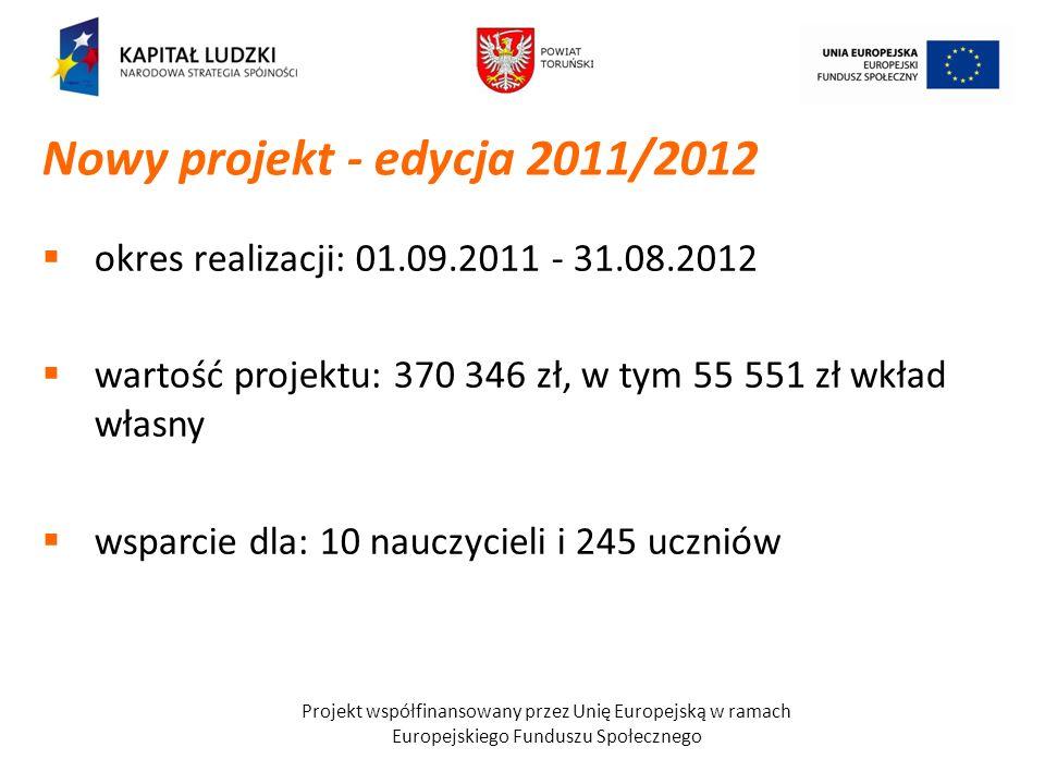Projekt współfinansowany przez Unię Europejską w ramach Europejskiego Funduszu Społecznego okres realizacji: 01.09.2011 - 31.08.2012 wartość projektu: