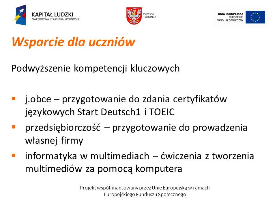 Projekt współfinansowany przez Unię Europejską w ramach Europejskiego Funduszu Społecznego Podwyższenie kompetencji kluczowych j.obce – przygotowanie
