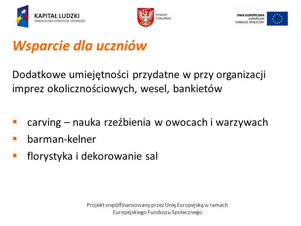 Projekt współfinansowany przez Unię Europejską w ramach Europejskiego Funduszu Społecznego Dodatkowe umiejętności przydatne w przy organizacji imprez