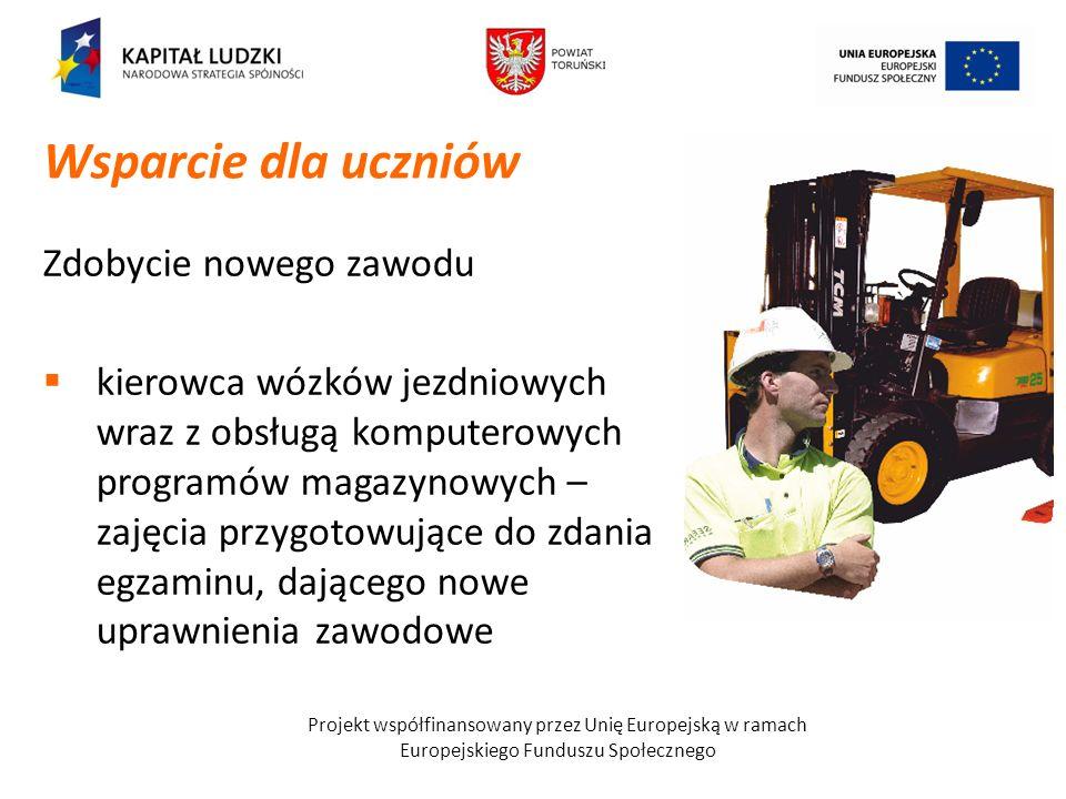 Projekt współfinansowany przez Unię Europejską w ramach Europejskiego Funduszu Społecznego Zdobycie nowego zawodu kierowca wózków jezdniowych wraz z o