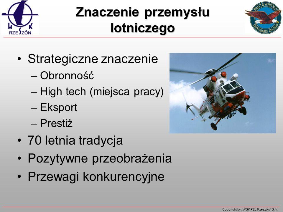 Copyright by WSK PZL Rzeszów S.A. Znaczenie przemysłu lotniczego Strategiczne znaczenie –Obronność –High tech (miejsca pracy) –Eksport –Prestiż 70 let