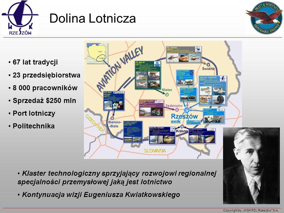 Copyright by WSK PZL Rzeszów S.A. Dolina Lotnicza 67 lat tradycji 23 przedsiębiorstwa 8 000 pracowników Sprzedaż $250 mln Port lotniczy Politechnika K