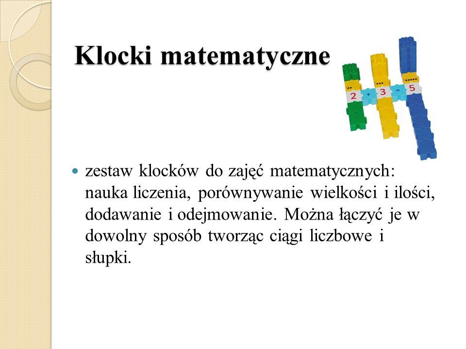Klocki matematyczne zestaw klocków do zajęć matematycznych: nauka liczenia, porównywanie wielkości i ilości, dodawanie i odejmowanie. Można łączyć je