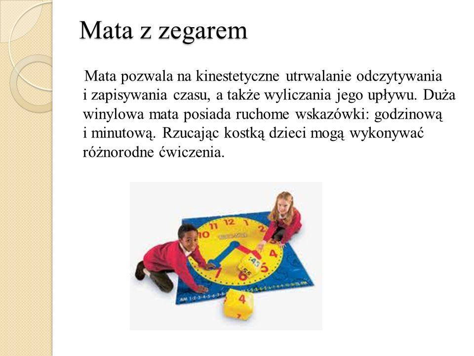 Mata z zegarem Mata pozwala na kinestetyczne utrwalanie odczytywania i zapisywania czasu, a także wyliczania jego upływu. Duża winylowa mata posiada r