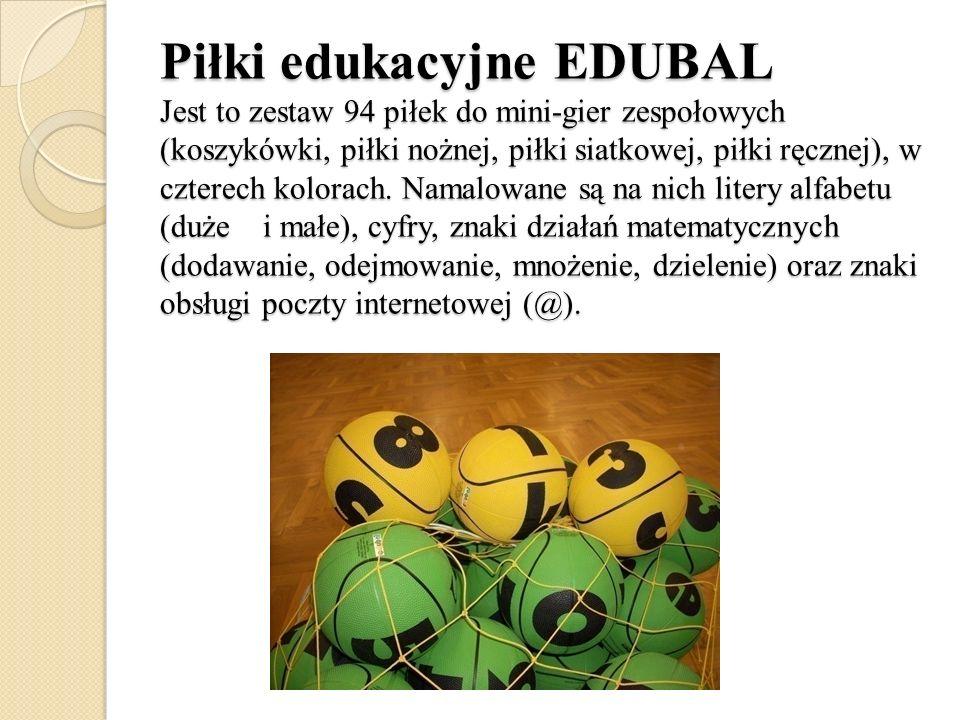 Piłki edukacyjne EDUBAL Jest to zestaw 94 piłek do mini-gier zespołowych (koszykówki, piłki nożnej, piłki siatkowej, piłki ręcznej), w czterech kolora