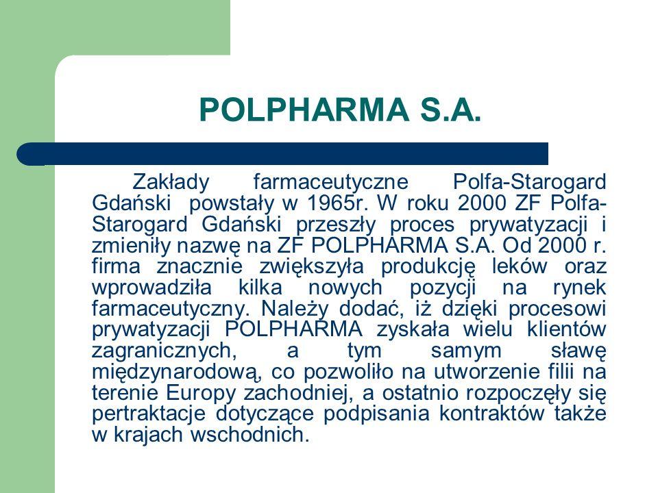 POLPHARMA S.A. Zakłady farmaceutyczne Polfa-Starogard Gdański powstały w 1965r. W roku 2000 ZF Polfa- Starogard Gdański przeszły proces prywatyzacji i