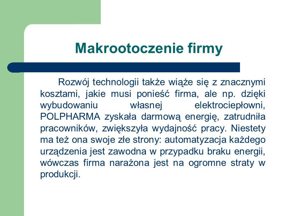 Makrootoczenie firmy Rozwój technologii także wiąże się z znacznymi kosztami, jakie musi ponieść firma, ale np. dzięki wybudowaniu własnej elektrociep