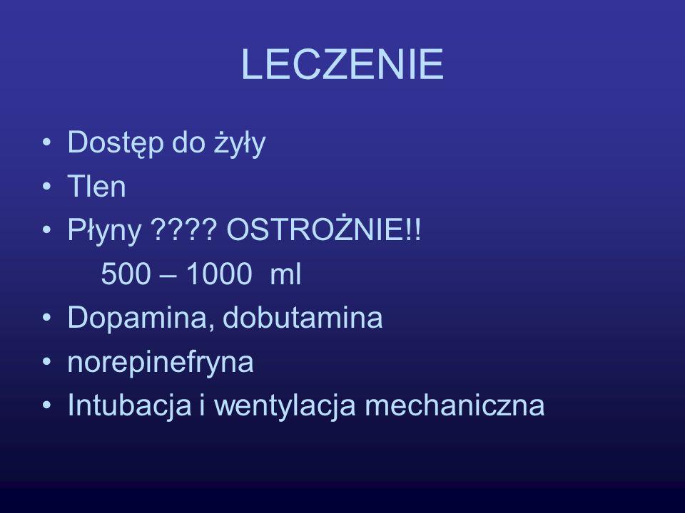 LECZENIE Dostęp do żyły Tlen Płyny ???? OSTROŻNIE!! 500 – 1000 ml Dopamina, dobutamina norepinefryna Intubacja i wentylacja mechaniczna
