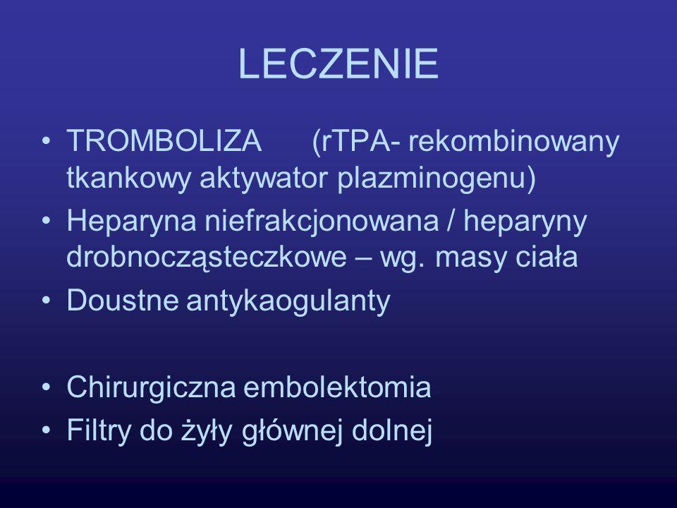 LECZENIE TROMBOLIZA (rTPA- rekombinowany tkankowy aktywator plazminogenu) Heparyna niefrakcjonowana / heparyny drobnocząsteczkowe – wg. masy ciała Dou