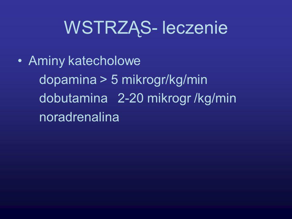 WSTRZĄS- leczenie Aminy katecholowe dopamina > 5 mikrogr/kg/min dobutamina 2-20 mikrogr /kg/min noradrenalina