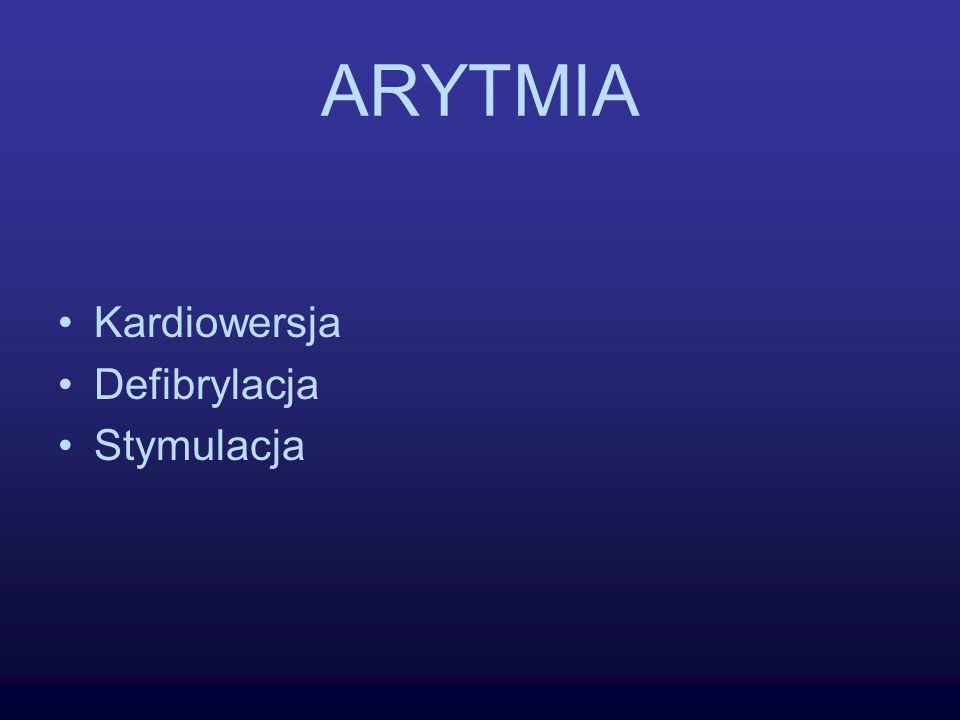 ARYTMIA Kardiowersja Defibrylacja Stymulacja