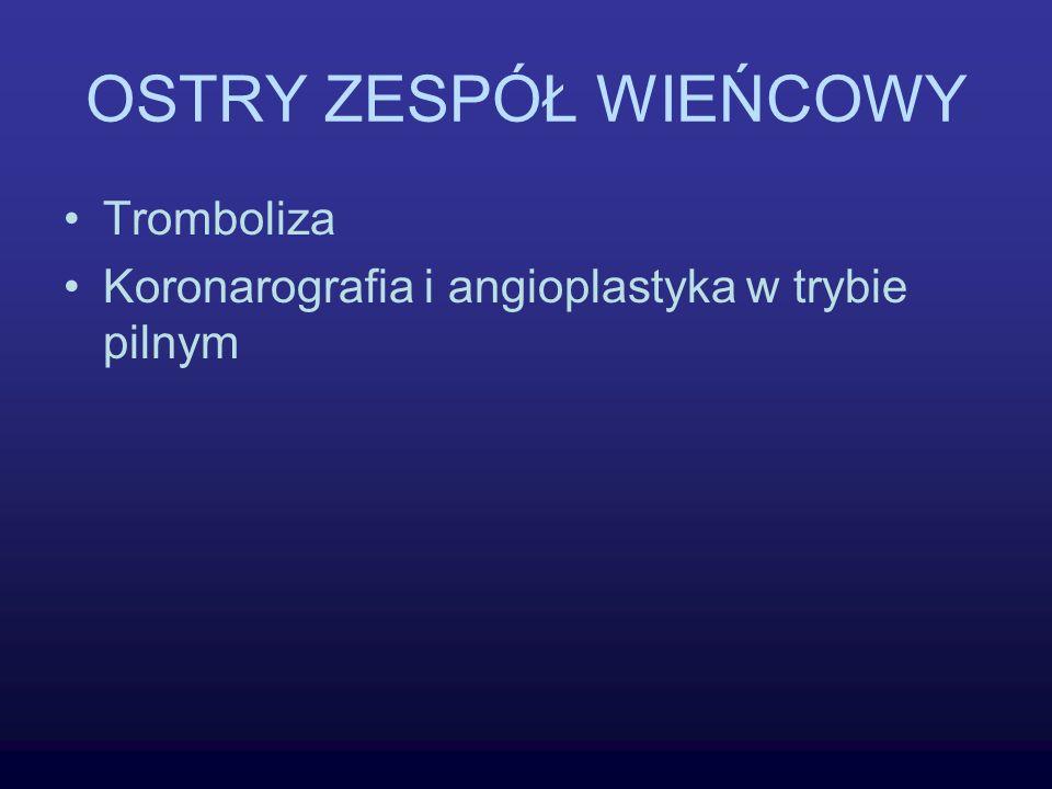 OSTRY ZESPÓŁ WIEŃCOWY Tromboliza Koronarografia i angioplastyka w trybie pilnym