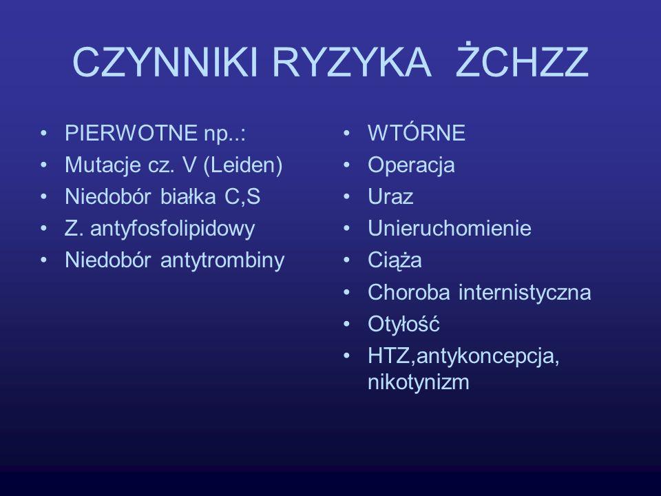 CZYNNIKI RYZYKA ŻCHZZ PIERWOTNE np..: Mutacje cz. V (Leiden) Niedobór białka C,S Z. antyfosfolipidowy Niedobór antytrombiny WTÓRNE Operacja Uraz Unier