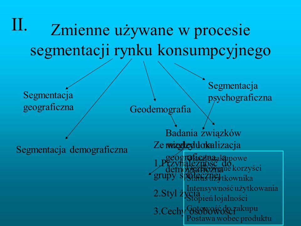 Zmienne używane w procesie segmentacji rynku konsumpcyjnego Segmentacja geograficzna Segmentacja demograficzna Geodemografia Badania związków między l
