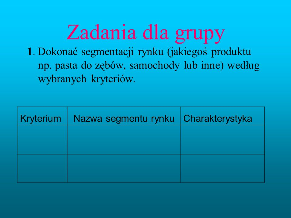 Zadania dla grupy 1. Dokonać segmentacji rynku (jakiegoś produktu np. pasta do zębów, samochody lub inne) według wybranych kryteriów. KryteriumNazwa s