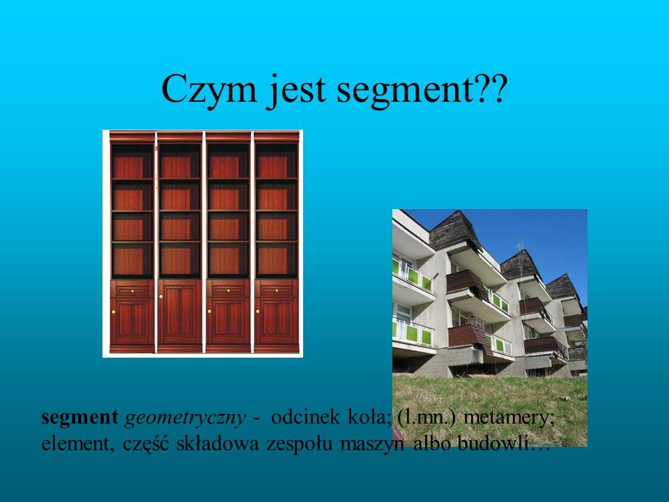 Czym jest segment?? segment geometryczny - odcinek koła; (l.mn.) metamery; element, część składowa zespołu maszyn albo budowli…