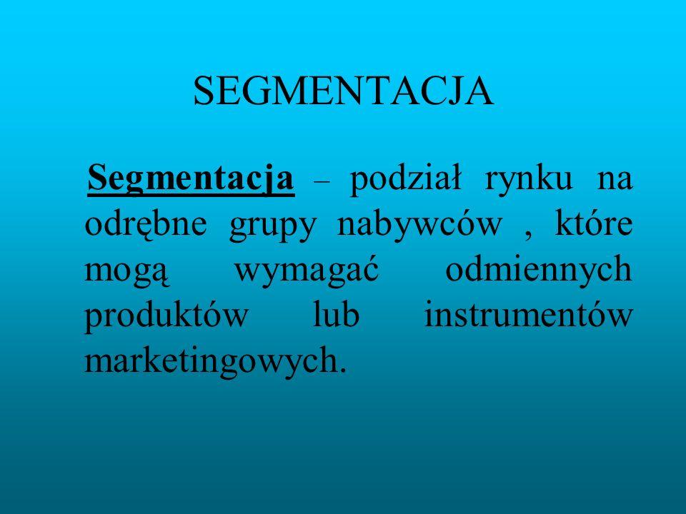 SEGMENTACJA Segmentacja – podział rynku na odrębne grupy nabywców, które mogą wymagać odmiennych produktów lub instrumentów marketingowych.