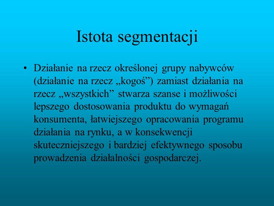 Siedem ważnych zagadnień dotyczących procesu segmentacji: I.Poziom segmentacji rynku II.Segmentacja rynku konsumpcyjnego III.Segmentacja rynku przedsiębiorstw IV.Segmentacja rynków międzynarodowych V.Segmentacja wieloczynnikowa VI.Identyfikowanie segmentów rynkowych VII.Warunki efektywnej segmentacji