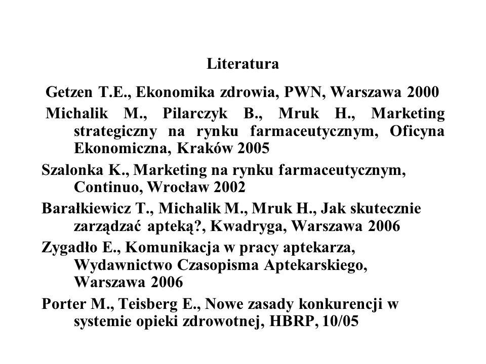 Literatura Getzen T.E., Ekonomika zdrowia, PWN, Warszawa 2000 Michalik M., Pilarczyk B., Mruk H., Marketing strategiczny na rynku farmaceutycznym, Ofi