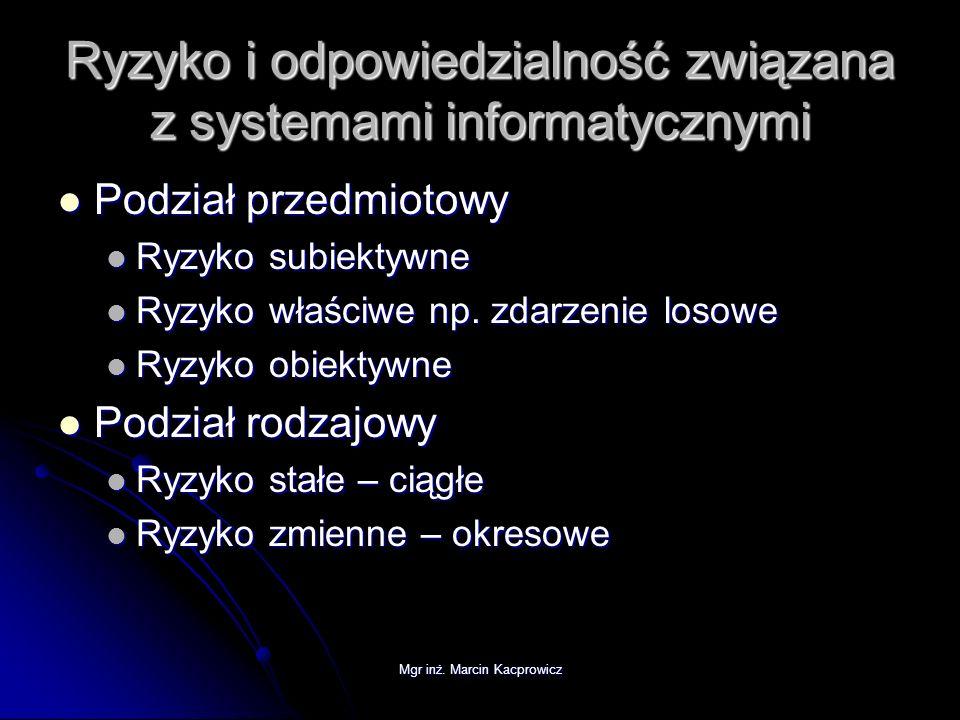 Mgr inż. Marcin Kacprowicz Ryzyko i odpowiedzialność związana z systemami informatycznymi Podział przedmiotowy Podział przedmiotowy Ryzyko subiektywne