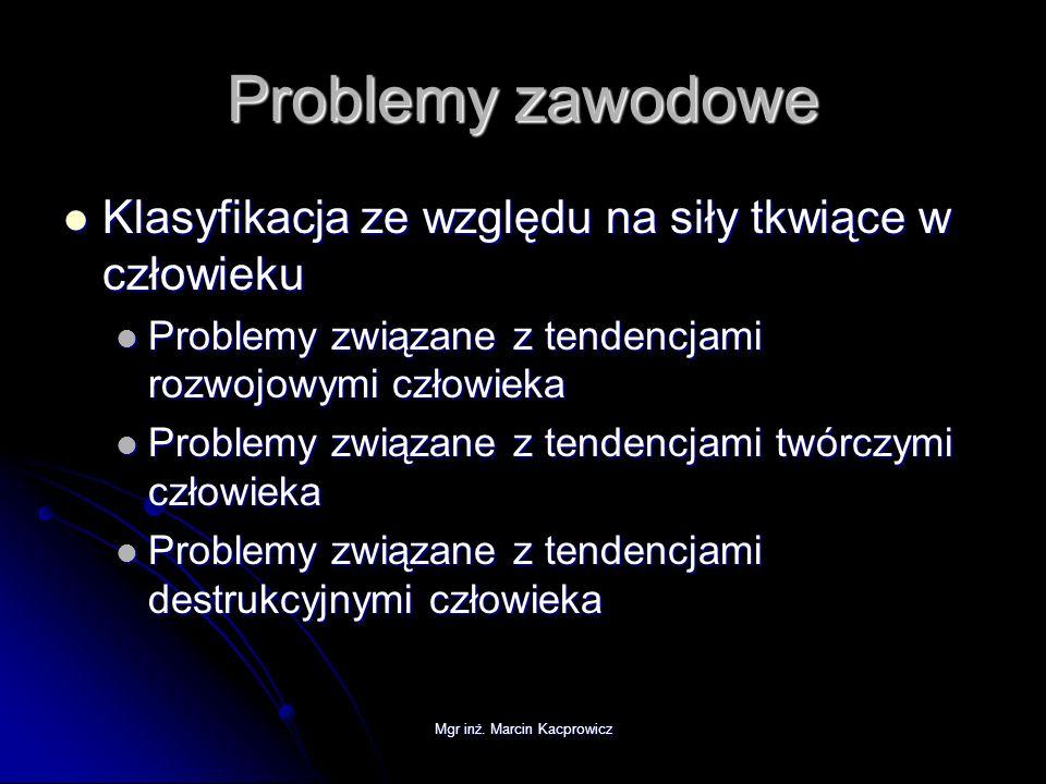 Mgr inż. Marcin Kacprowicz Problemy zawodowe Klasyfikacja ze względu na siły tkwiące w człowieku Klasyfikacja ze względu na siły tkwiące w człowieku P