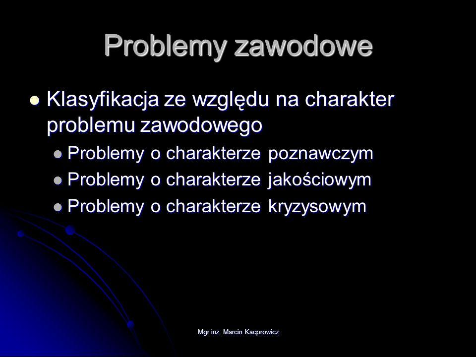 Mgr inż. Marcin Kacprowicz Problemy zawodowe Klasyfikacja ze względu na charakter problemu zawodowego Klasyfikacja ze względu na charakter problemu za