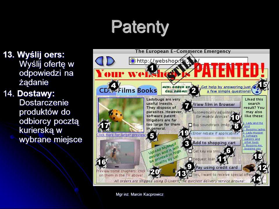 Mgr inż. Marcin Kacprowicz Patenty 13. Wyślij oers: Wyślij ofertę w odpowiedzi na żądanie 14. Dostawy: Dostarczenie produktów do odbiorcy pocztą kurie