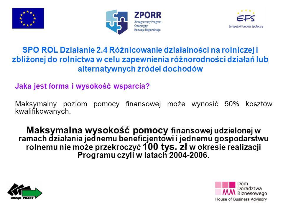 SPO ROL Działanie 2.4 Różnicowanie działalności na rolniczej i zbliżonej do rolnictwa w celu zapewnienia różnorodności działań lub alternatywnych źródeł dochodów Jaka jest forma i wysokość wsparcia.
