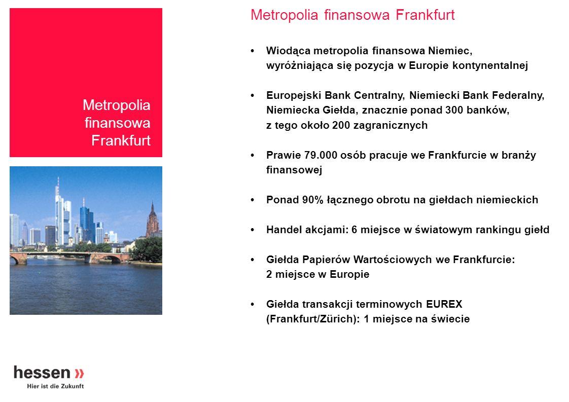 Zatrudnienie (2002) ŁącznieUdział w całkowitym zatrudnieniu Frankfurt78.80016,2 % Hesja148.8006,8 % Niemcy1.076.2003,9 % Metropolia finansowa Frankfurt Zatrudnienie w sektorze finansowym w Hesji Źródło:HUS, Federalny Urząd Statystyczny