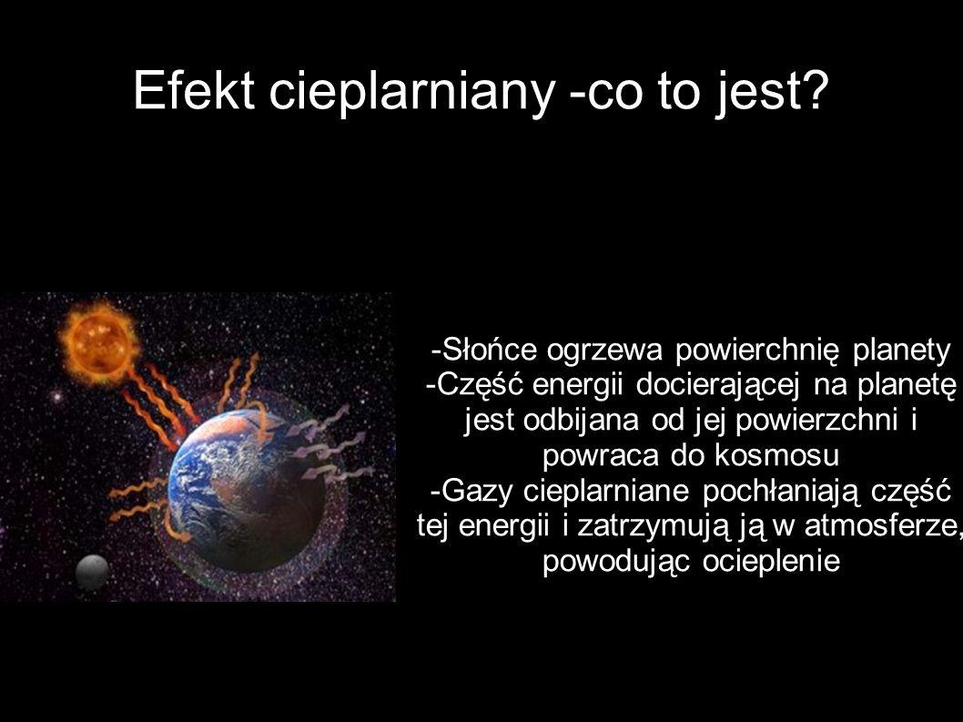 Efekt cieplarniany -co to jest? -Słońce ogrzewa powierchnię planety -Część energii docierającej na planetę jest odbijana od jej powierzchni i powraca