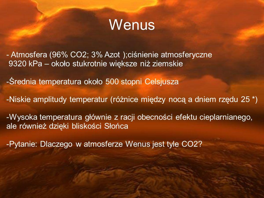 - Atmosfera (96% CO2; 3% Azot );ciśnienie atmosferyczne 9320 kPa – około stukrotnie większe niż ziemskie -Średnia temperatura około 500 stopni Celsjus
