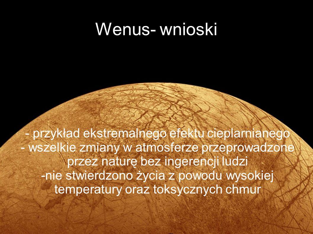 Wenus- wnioski - przykład ekstremalnego efektu cieplarnianego - wszelkie zmiany w atmosferze przeprowadzone przez naturę bez ingerencji ludzi -nie stw