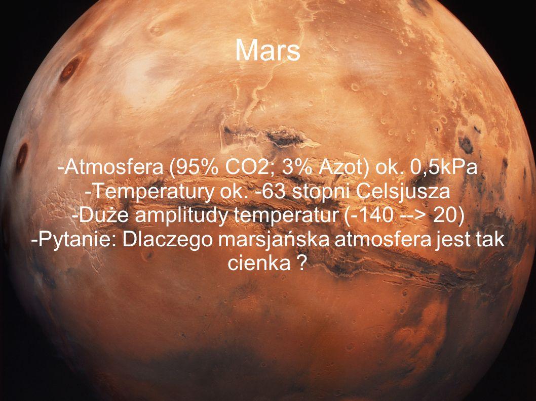 Mars -Atmosfera (95% CO2; 3% Azot) ok. 0,5kPa -Temperatury ok. -63 stopni Celsjusza -Duże amplitudy temperatur (-140 --> 20) -Pytanie: Dlaczego marsja