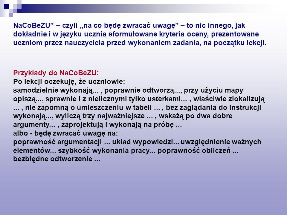 NaCoBeZU – czyli na co będę zwracać uwagę – to nic innego, jak dokładnie i w języku ucznia sformułowane kryteria oceny, prezentowane uczniom przez nau