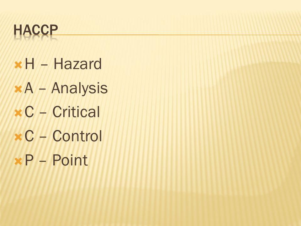 H – Hazard A – Analysis C – Critical C – Control P – Point