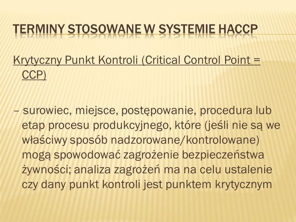 Krytyczny Punkt Kontroli (Critical Control Point = CCP) – surowiec, miejsce, postępowanie, procedura lub etap procesu produkcyjnego, które (jeśli nie