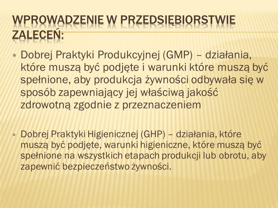 Dobrej Praktyki Produkcyjnej (GMP) – działania, które muszą być podjęte i warunki które muszą być spełnione, aby produkcja żywności odbywała się w spo