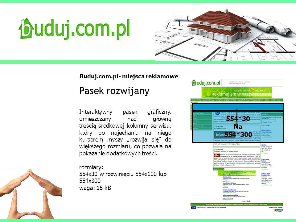 Buduj.com.pl- miejsca reklamowe Pasek rozwijany Interaktywny pasek graficzny, umieszczany nad główną treścią środkowej kolumny serwisu, który po najec