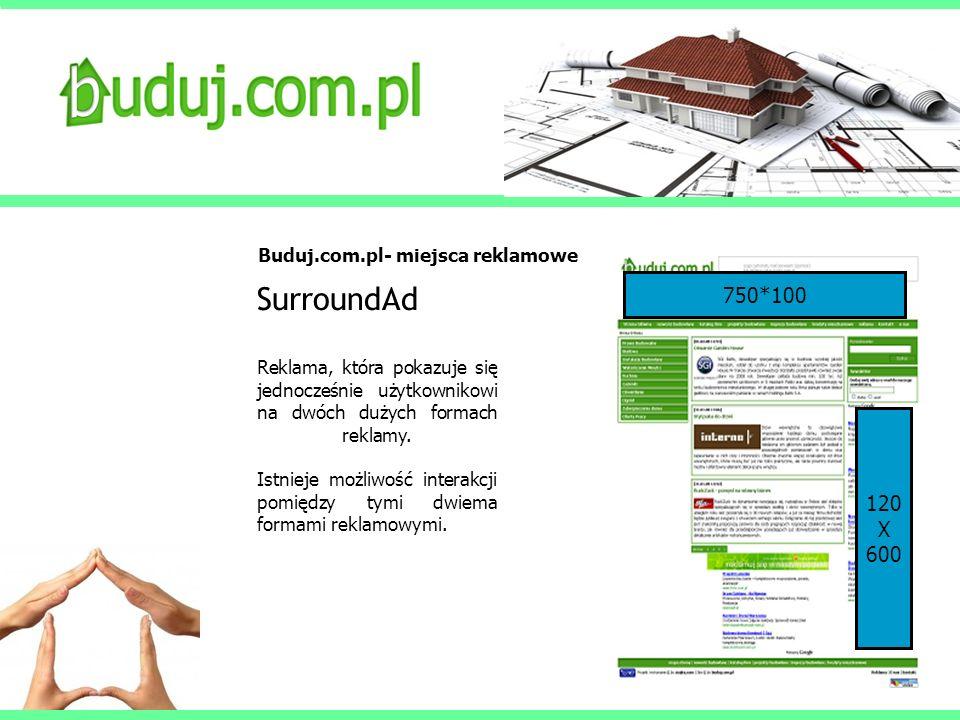 Buduj.com.pl- miejsca reklamowe SurroundAd Reklama, która pokazuje się jednocześnie użytkownikowi na dwóch dużych formach reklamy. Istnieje możliwość