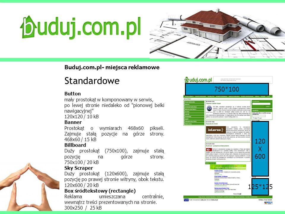 Buduj.com.pl- miejsca reklamowe Standardowe Double Billboard Pozioma forma reklamy umieszczana centralnie w górnej części witryny.