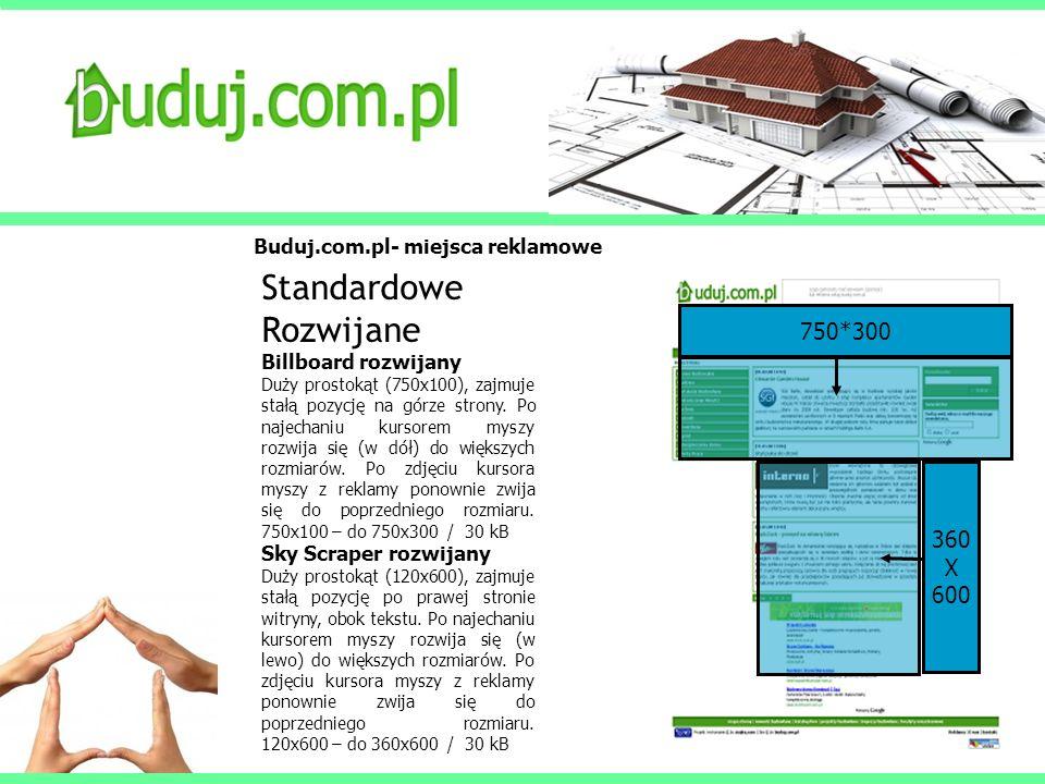 Buduj.com.pl- miejsca reklamowe Standardowe Rozwijane Billboard rozwijany Duży prostokąt (750x100), zajmuje stałą pozycję na górze strony. Po najechan