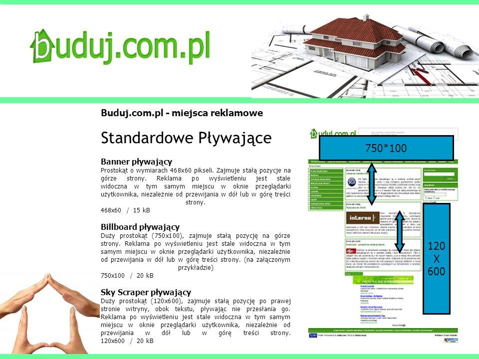 Buduj.com.pl - miejsca reklamowe Standardowe Pływające Banner pływający Prostokąt o wymiarach 468x60 pikseli. Zajmuje stałą pozycje na górze strony. R