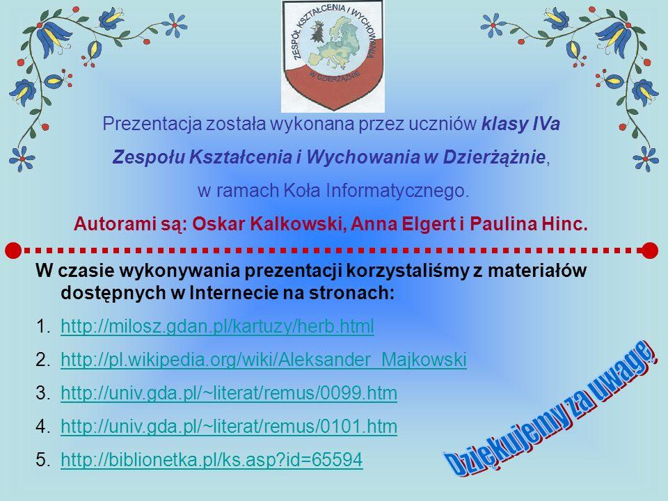 Prezentacja została wykonana przez uczniów klasy IVa Zespołu Kształcenia i Wychowania w Dzierżążnie, w ramach Koła Informatycznego. Autorami są: Oskar