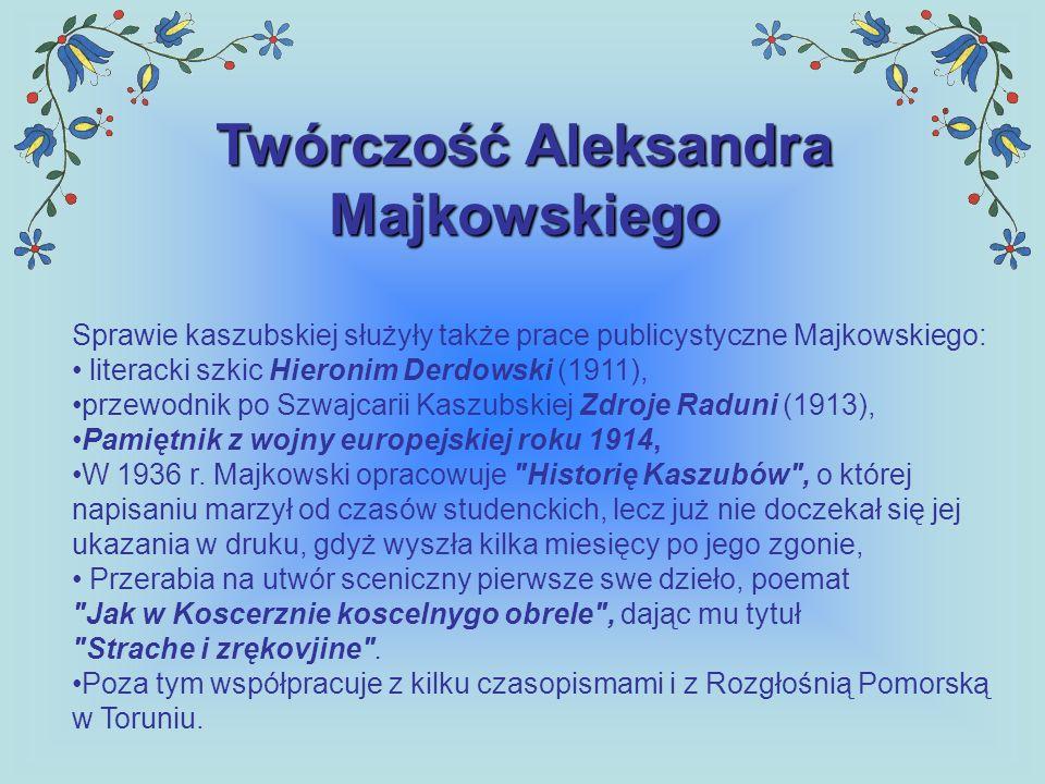 Twórczość Aleksandra Majkowskiego Sprawie kaszubskiej służyły także prace publicystyczne Majkowskiego: literacki szkic Hieronim Derdowski (1911), prze