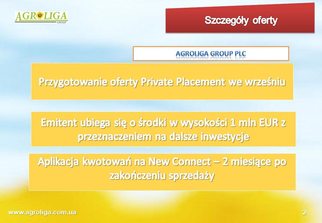 www.agroliga.com.ua1 Wyniki finansowe wg MSR po wstępnym audycie Baker Tilly Ukraine 200920082007 tyś EUR Aktywa trwałe Nieruchomości, maszyny, urządzenia654444461 Aktywa biologiczne244229200 Inne aktywa trwałe126149564 Razem aktywa trwałe10248221225 Kapitał własny180513791856 Razem zobowiązania długoterminowe1766125 Razem zobowiązania krótkoterminowe95110425319 Zobowiązania ogółem96811085445 Kapitał własny i zobowiązania277324877301