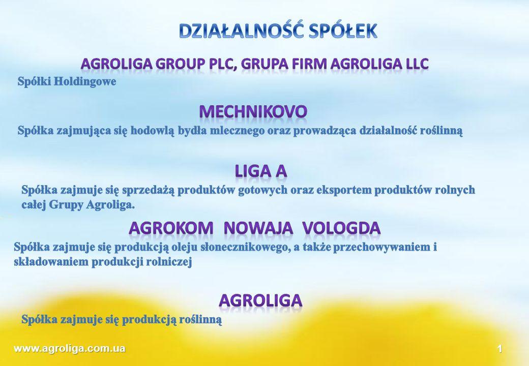 www.agroliga.com.ua1 Wykorzystanie pozyskanych środków Zakłady olejowe Produkcja mleka Zakup linii produkcyjnej oleju do 8,5 tys t/rocznie Zwiększenie objętości składowania Rozwój infrastruktury, budowa bocznicy Zakup i modernizacja wyposażenia Zakup wysokomlecznych krów 200 szt 1960,5 tyś 1648,8 tyś Środki własne\emisja % 70/30 Środki własne\emisja % 74,5/25,5 Programy celowe