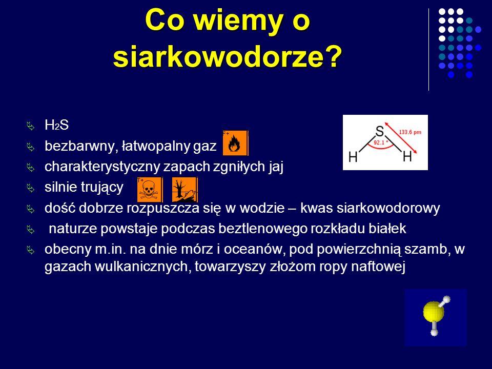 Co wiemy o siarkowodorze? H 2 S bezbarwny, łatwopalny gaz charakterystyczny zapach zgniłych jaj silnie trujący dość dobrze rozpuszcza się w wodzie – k
