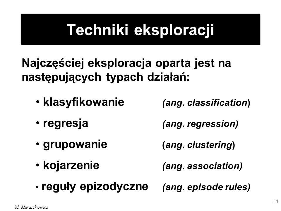 M. Muraszkiewicz 14 Techniki eksploracji Najczęściej eksploracja oparta jest na następujących typach działań: klasyfikowanie (ang. classification) reg