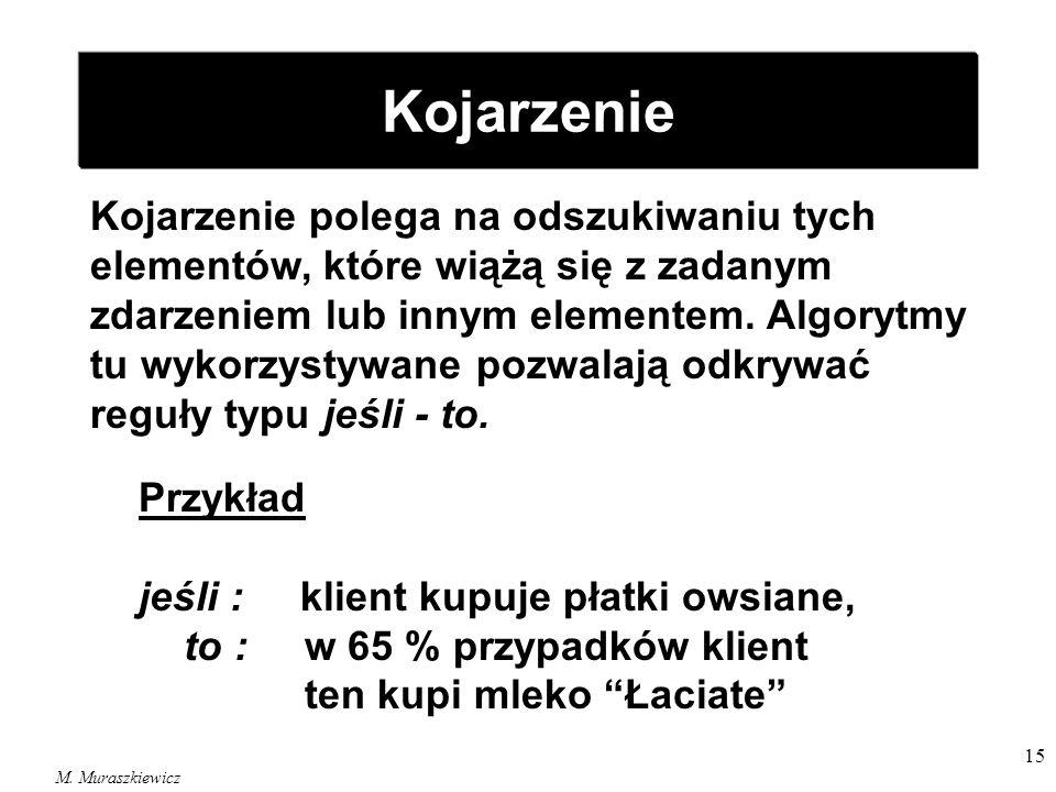 M. Muraszkiewicz 15 Kojarzenie Kojarzenie polega na odszukiwaniu tych elementów, które wiążą się z zadanym zdarzeniem lub innym elementem. Algorytmy t