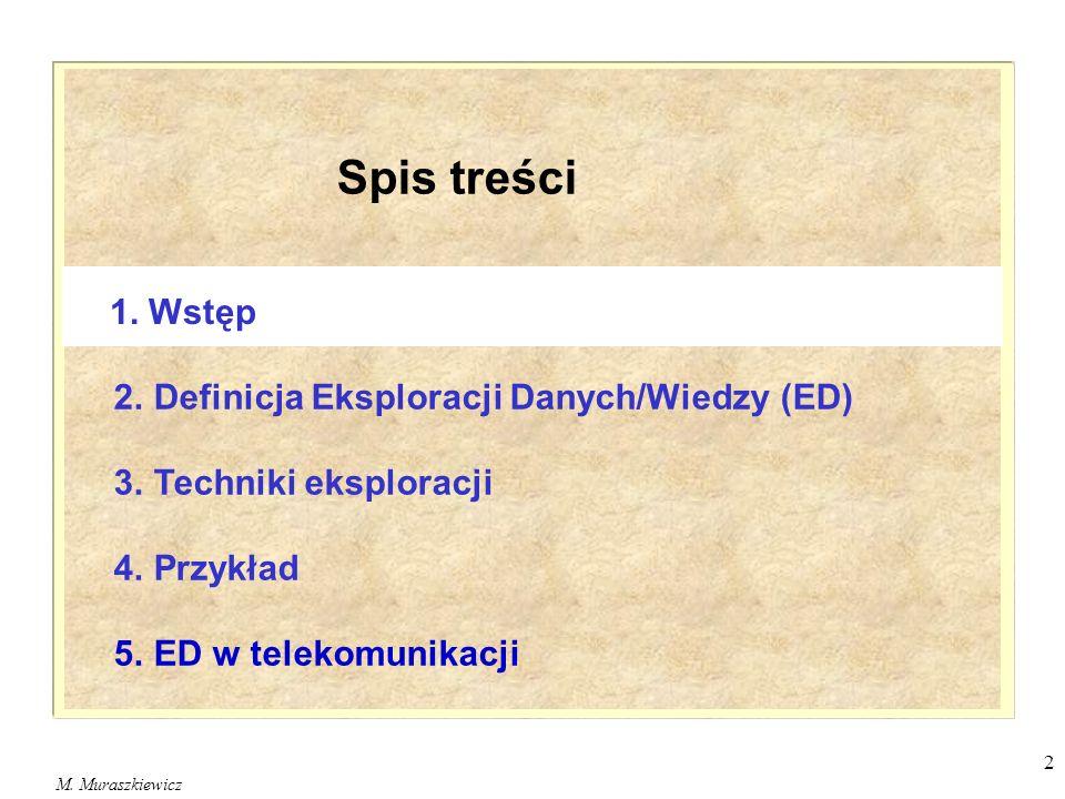 M. Muraszkiewicz 2 Spis treści 2. Definicja Eksploracji Danych/Wiedzy (ED) 3. Techniki eksploracji 4. Przykład 5. ED w telekomunikacji 1. Wstęp